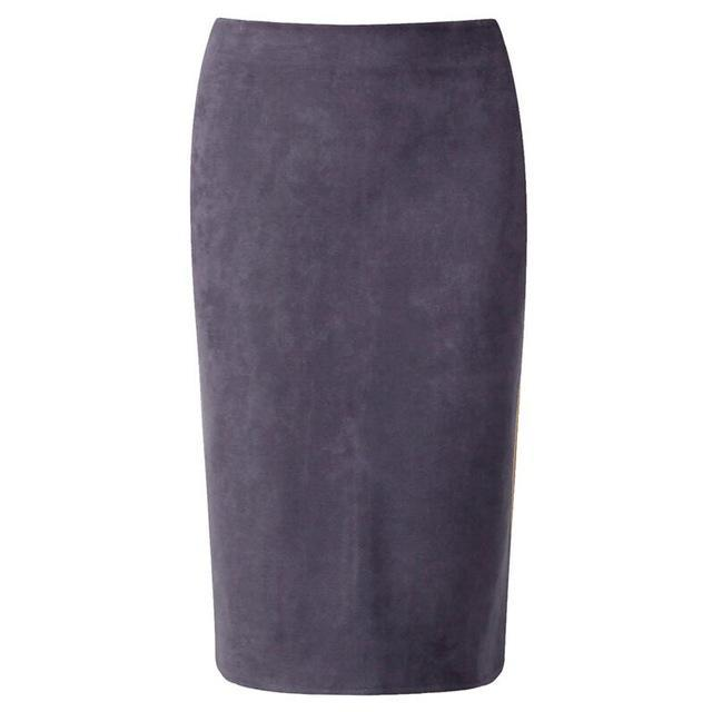 fae980fb7 Outlet Appeal Gray / M Women Suede Midi Pencil Skirts Causal High Waist  Sexy Stretch Ladies