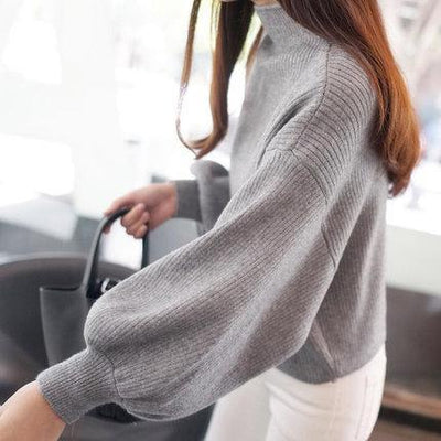 Outlet Appeal Gray / One Size 2018 New Winter Women Sweaters Fashion Turtleneck Batwing Sleeve Pullovers Loose Knitted Sweaters Female Jumper Tops