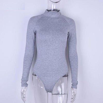 Outlet Appeal Gray / S Long Sleeve High Neck Skinny Bodysuit