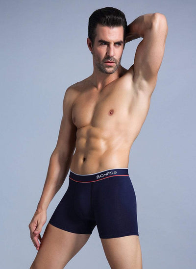 Men's Solid Cotton Mid Waist Boxer Briefs Underwear