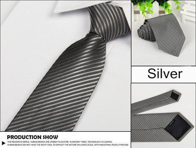 Outlet Appeal Gray Solid 8cm slim ties men necktie Fashion Man Accessories For Party Business Formal lot