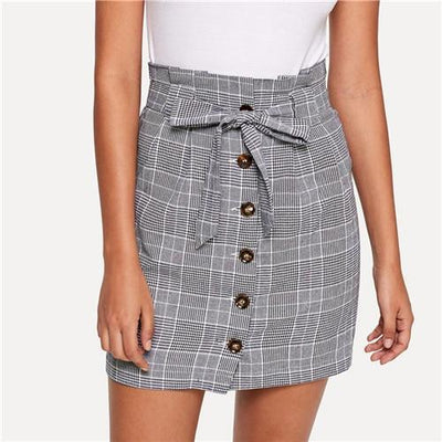 Outlet Appeal Gray / XS Sheinside Grey Women Mini Skirts Summer Pencil Skirt Female Button Up Knot Front Plaid Skirts Womens Clothing Ladies Short Skirt