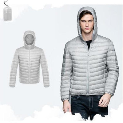 Outlet Appeal Gray / XXL / China Men Duck Down Jacket Parka Winter Hooded Down Coat