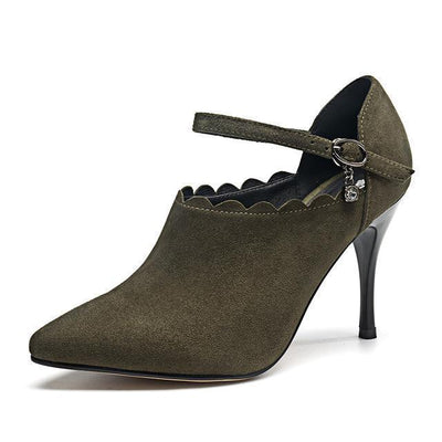 Outlet Appeal green / 4.5 Universe Super High Heel Shoes Women Elegant Pumps Kid Suede Pointed Toe Thin heel shoes