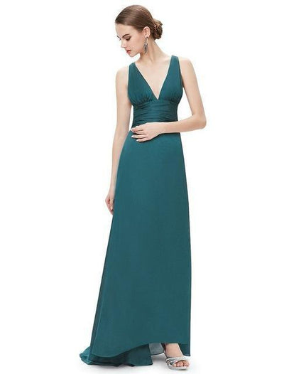 Outlet Appeal Green / 4 Evening Dresses Ever-Pretty Elegant V Neck Long Formal Special Occasions