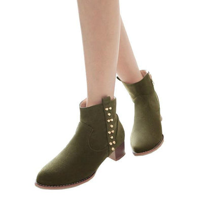 Outlet Appeal green / 5 HEE GRAND Women Ankle Boots Heels Suede Flock Rivet Gladiator Round toe Size 35-43 XWX6235