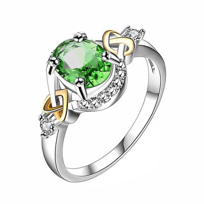 Outlet Appeal Green / 6 Alloy Engagement Ring with Crystal