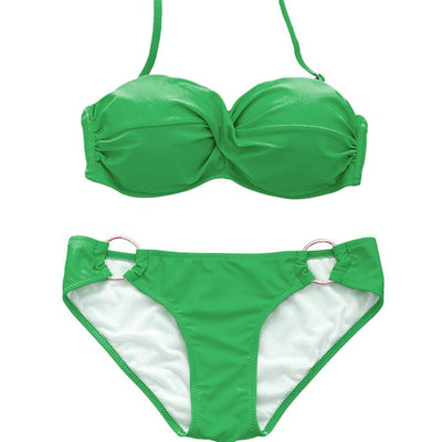 Outlet Appeal Green / L Two Piece Elastic Bikini Swimsuit Sexy Padded Swimwear Swim Suit for Women