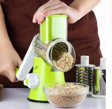 Outlet Appeal green Round Slicer Manual Potato Carrot Slicer Cheese Grater Stainless Steel Blades