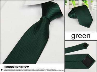 Outlet Appeal Green Solid 8cm slim ties men necktie Fashion Man Accessories For Party Business Formal lot