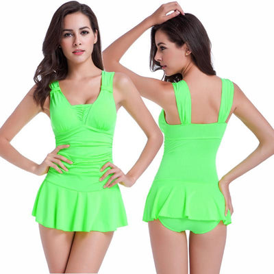 Outlet Appeal Green / XL Sexy One Piece Swimsuit Ruched V Neck for Women