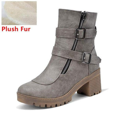 Outlet Appeal grey fur / 6 Faux Leather Winter Metal Buckle Thick High Heel Zipper Ankle Boots