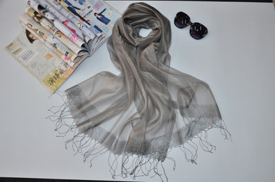 Outlet Appeal Grey Stylish Sunscreen Scarves Silk Sun Block Shawl Scarf for Air Condition Room