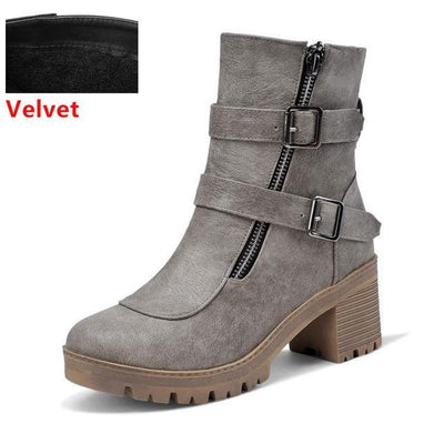 Outlet Appeal grey velvet / 6 Faux Leather Winter Metal Buckle Thick High Heel Zipper Ankle Boots