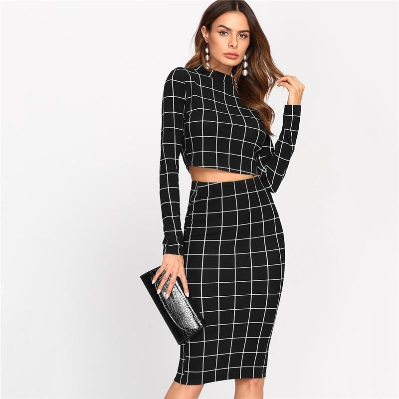 59b75d72a7 Outlet Appeal Grid Pattern High Collar Long Sleeve Two Piece Set Crop Top & Pencil  Skirt