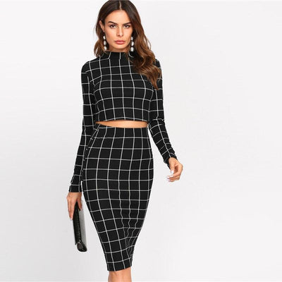Outlet Appeal Grid Pattern High Collar Long Sleeve Two Piece Set Crop Top & Pencil Skirt