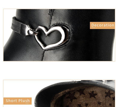 Outlet Appeal Heart Decoration Zip Up Cow Leather Pointed Toe Thin High Heel Ankle Boots