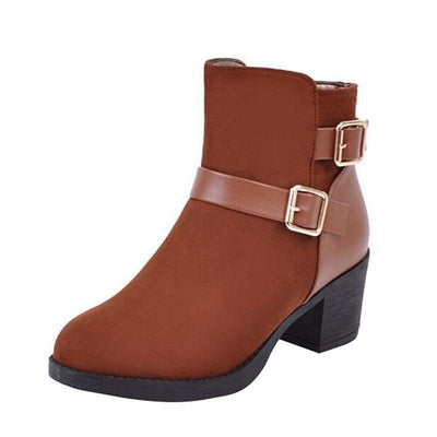 Outlet Appeal HEE GRAND Double Buckle Strap Round Toe Autumn & Winter Boots Women Ankle Boot XWX6041