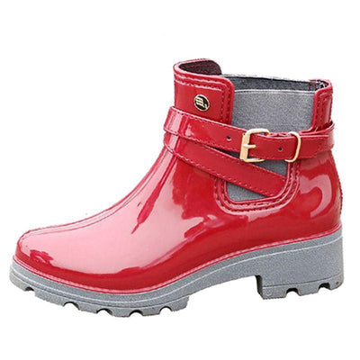 Outlet Appeal HEE GRAND Rain Boots 2017 Women Ankle Boots Casual Rubber Creepers Slip On Flats XWX4505