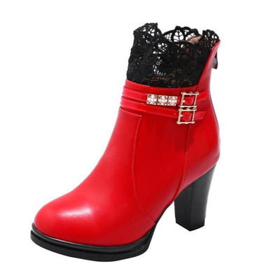 Outlet Appeal HEE GRAND Women Boots Lace and Crystal Decoration High Heel with Zip Open size35-43 xwx5967