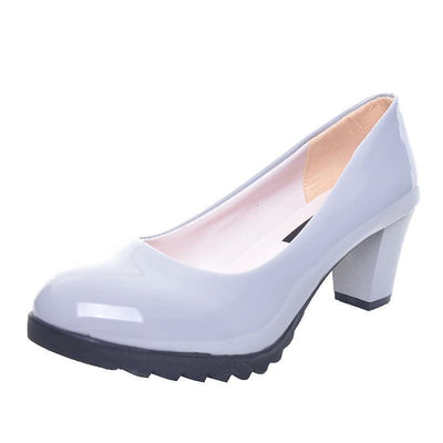 Outlet Appeal HEE GRAND Women Pumps Solid Candy Color PU Leather Shoes Square Heel Slip-ons Size 35-40 XWD2633