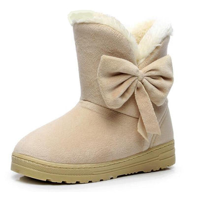 Outlet Appeal HEE GRAND Women Snow Boots Solid Bowtie Slip-On Soft Round Toe Flat with Winter Shoes XWX1385