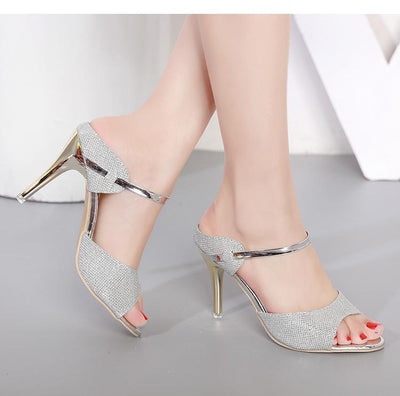 Outlet Appeal High Heel Shoes Sandals Gold Silver