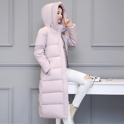 Outlet Appeal High quality 2018 stand collar coat women winter long hooded with a hat warm thicken womens jacket solid padded female parka