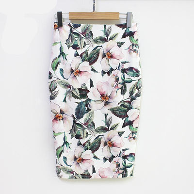 Outlet Appeal High Waist Vintage Floral Print Midi Pencil Skirt Many Styles