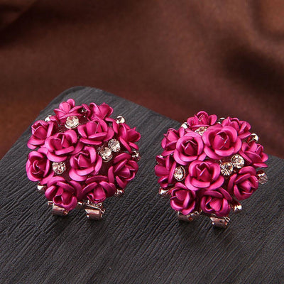 Outlet Appeal Hot Pink / one-size Fashion Jewelry Bohemia Flower Rhinestone  Earrings For Women Summer Style A