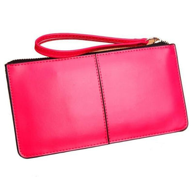 Outlet Appeal Hot Pink Retro Long Card Holder Leather Stitching Lady Women Wallet