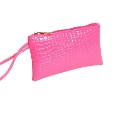 Outlet Appeal Hot Pink Women's Faux Crocodile Leather Clutch Coin Purse Wallet