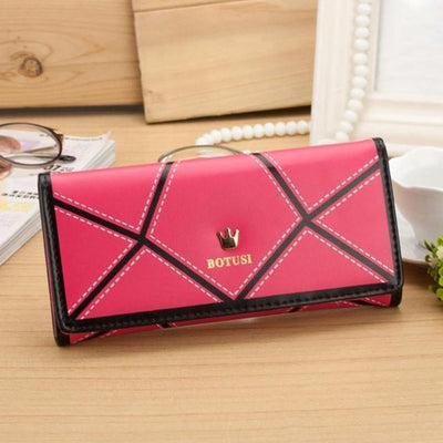 Outlet Appeal Hot Pink Women's Luxury Faux Leather Long Wallet Clutch Purse