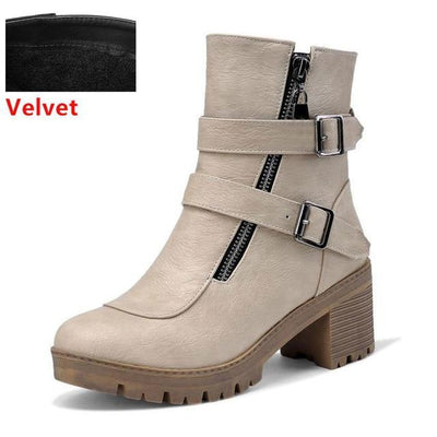 Outlet Appeal ivory velvet / 6 Faux Leather Winter Metal Buckle Thick High Heel Zipper Ankle Boots