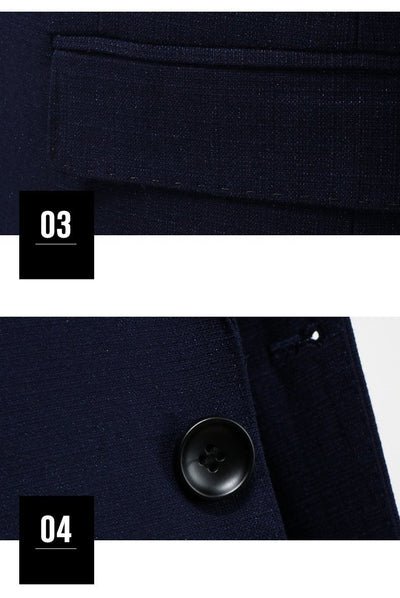 Outlet Appeal (Jacket+Vest+Pants) Men Suits Fashion Navy Blue Men's Slim Fit Men Formal Suits