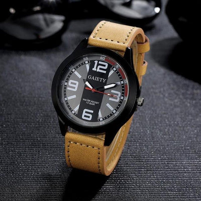 Outlet Appeal Khaki 2017 Luxury Brand Watch Men Military Mens Quartz PU Leather Wrist Watch Relogio Masculino #53