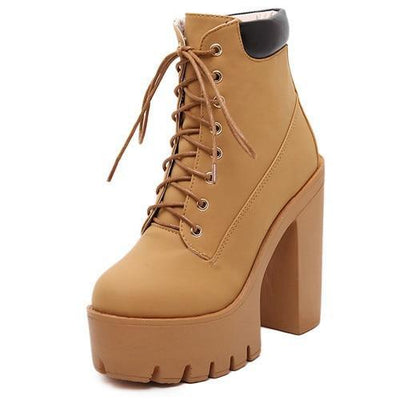 Outlet Appeal khaki / 4.5 Lace Up Thick Heel Platform Ankle Boots