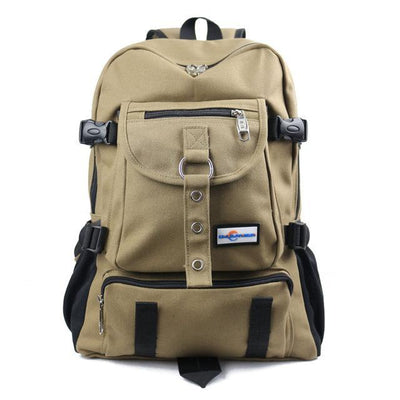 Outlet Appeal Khaki Durable Canvas Multi-Pocket Multi-Function Backpack