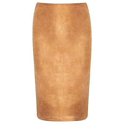 Outlet Appeal Khaki / M Women Suede Midi Pencil Skirts Causal High Waist Sexy Stretch Ladies Office Work Wear