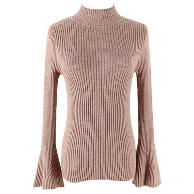Outlet Appeal Khaki Pullover Sweater Women Turtleneck Knitted Tops Female Knitwear Flare Sleeve Pull Jersey
