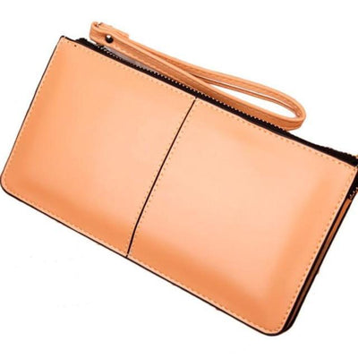 Outlet Appeal Khaki Retro Long Card Holder Leather Stitching Lady Women Wallet