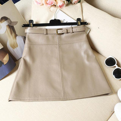 Outlet Appeal Khaki / S / China Spring Autumn PU Skirt Solid Faux Leather Mini Skirts Elegant Casual Short Slim Skirt with belt