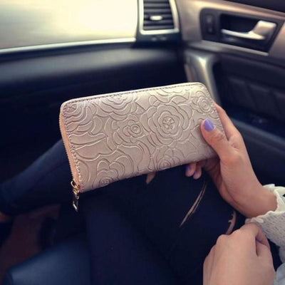 Outlet Appeal Khaki Women's Rose Embossed Long Wallet Business Zipper Faux Leather Clutch Wallet