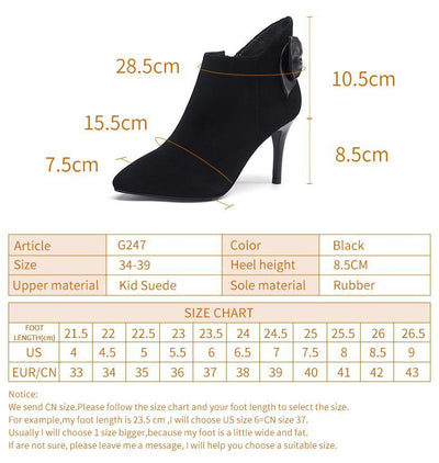 Outlet Appeal Kid Suede Pointed Toe Thin Heel High Heel Ankle Boots