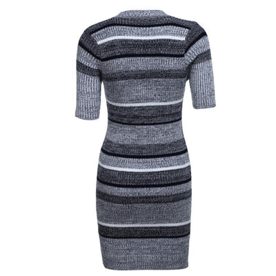 Outlet Appeal Knitted Dress Short Sleeve Party Skinny Casual Striped Warm Sweaters Dresses Casual