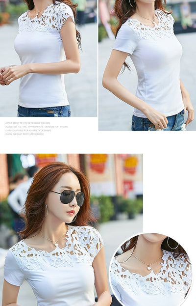 Outlet Appeal Lace Hollow Out Female T-shirt Slim Shirt Casual Ladies Tops Tees