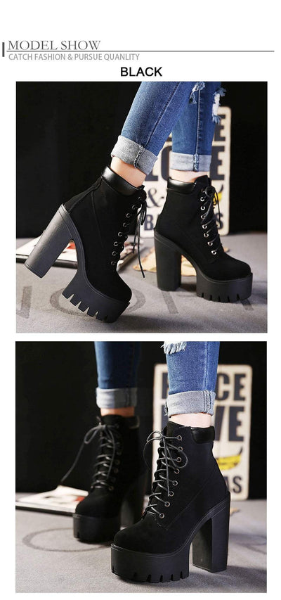 Outlet Appeal Lace Up Thick Heel Platform Ankle Boots