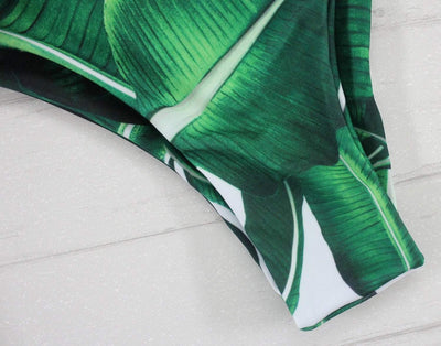 Outlet Appeal Leaf Print One Piece Thong-Back Swimsuit