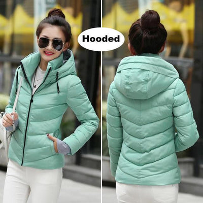 Outlet Appeal Light blue / M Winter Jacket Women's Plus Size Womens Parkas Thicken Outerwear solid hooded Coats Short Female Slim Cotton padded basic tops