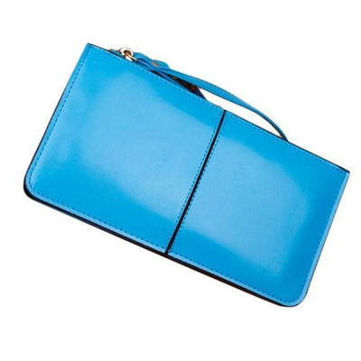 Outlet Appeal Light Blue Retro Long Card Holder Leather Stitching Lady Women Wallet